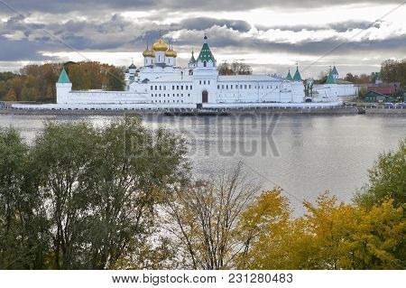 Kostroma, Russia - September 16, 2016: View Of The Ipatievsky Monastery Cloudy September Day Cradle