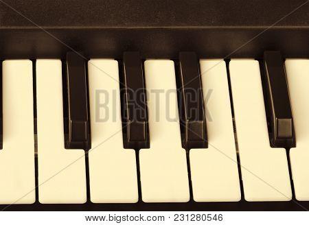 black and white piano keys closeup