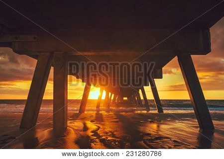 Glenelg Beach Jetty At Sunset Viewed From The Shore, South Australia