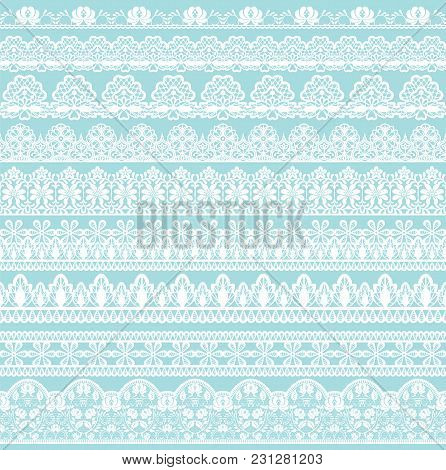 Horizontally Seamless Turquoise Lace Background With Lace Ribbons