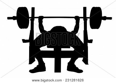 Male Athlete Bench Press Powerlifting Competition Black Silhouette