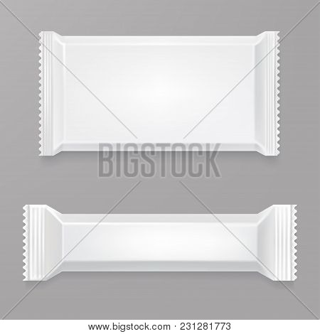 White Blank Chocolate Bar Mockup. White Polyethylene Package. Candy Bar Plastic Wrap. Front Side Vie