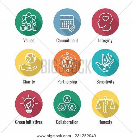 Social Responsibility Outline Icon Set With Honesty, Integrity, Collaboration, Etc