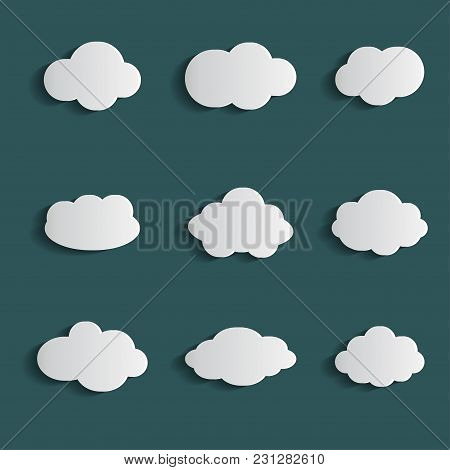 Cloud Vector Icon Set White Color On Blue Background. Sky Flat Illustration Collection For Web. Vect