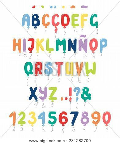 Hand Drawn Balloons Roman Alphabet With Numbers, Punctuation Marks, Diacritics For Spanish, Italian,