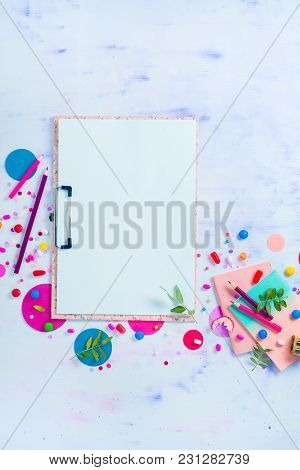 Blank Pages Clip Note, Pink Notepads, Candies And Confetti On A Feminine Background. Colorful Planni