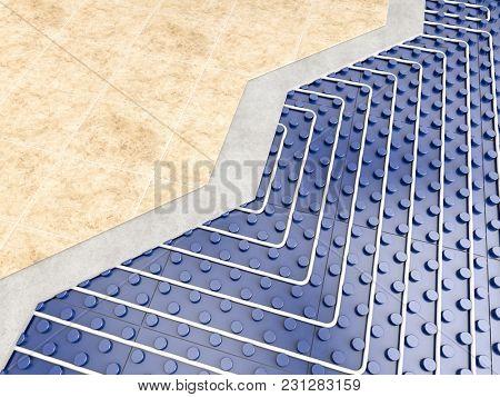 detail of floor heater 3d rendering image