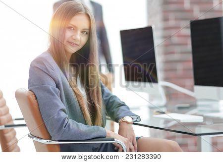 woman secretary in a modern office