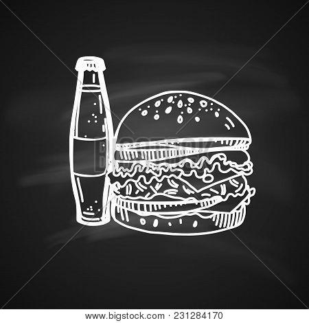 Hand Drawn Chalk Sketch On Blackboard Of Fast Food. Tasty Cheeseburger With Soda Bottle