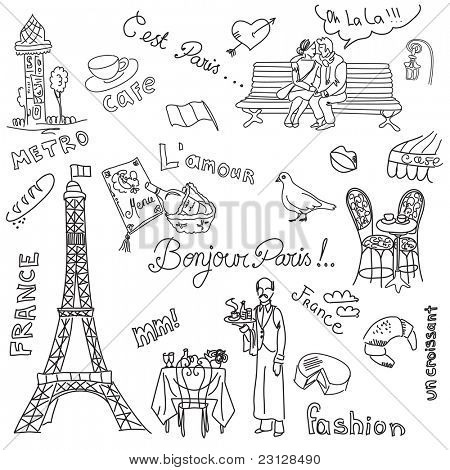 Paris doodles. French cuisine. poster