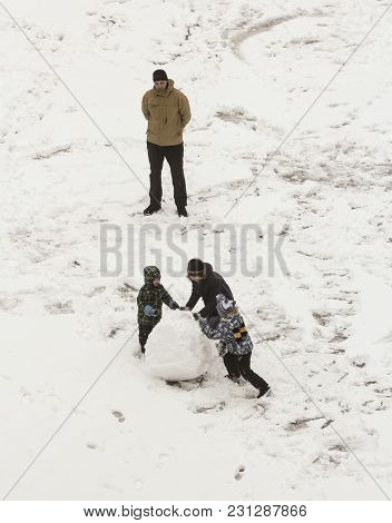 St. Petersburg, Russia - 2 February, Children Build A Snowman, 2 February, 2018. Children Play In Th