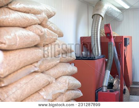 Domestic Pellet Burner Instalation With Biomass Material