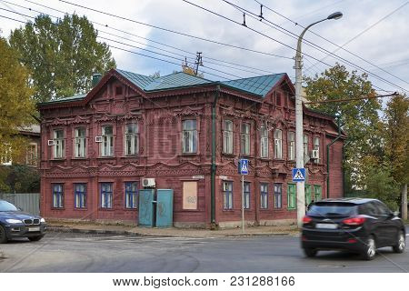 Kostroma, Russia - September 14, 2016: Wooden Architecture Of Kostroma Town, Historical Town Famous
