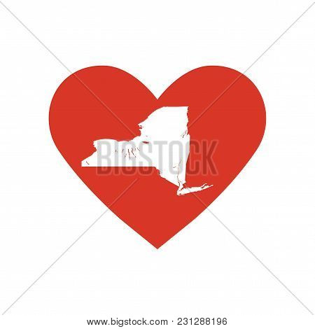 State Of New York Vector Map Silhouette In A Heart Shape. Outline Icon Or Contour Map Of The State O