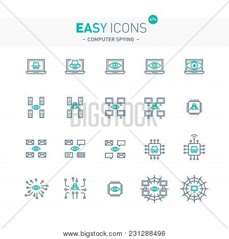 Vector Thin Line Flat Design Icon Set For Computer Spying Theme