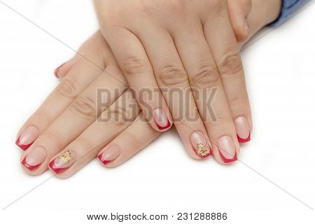 Female Hand Showing The Gesture With Five Fingers Is Isolated On White Background