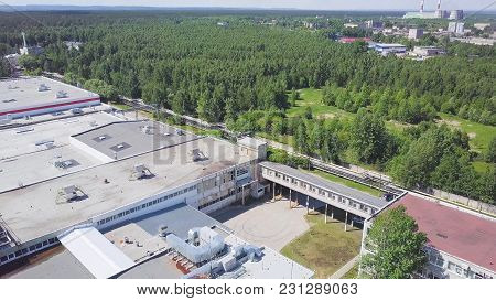 Power Plant, Aerial View. Urban Landscape Smoked Polluted Atmosphere From Emissions Of Plants And Fa