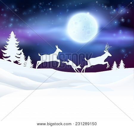 A Winter Christmas Scene Featuring A Deer Family Running In The Snow In Front Of A Big Full Moon In