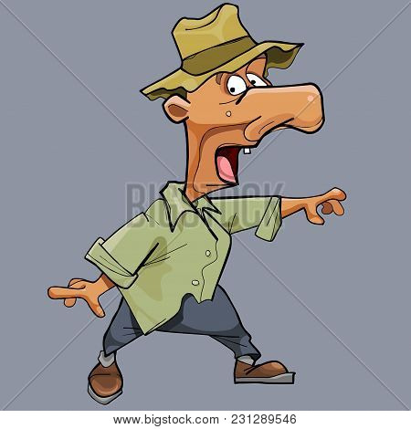 Funny Cartoon Scared Man In Hat And A Big Nose