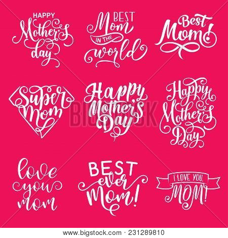 Mother Day Lettering Greeting Card Design. Hand Drawn Calligraphy Quote In Shape Of Heart And Diamon