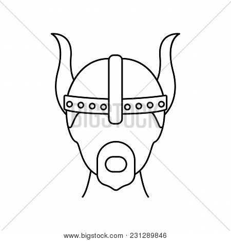 Viking Head Icon. Outline Viking Head Vector Icon For Web Design Isolated On White Background