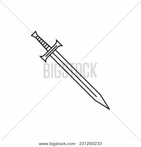 Sword Icon. Outline Sword Vector Icon For Web Design Isolated On White Background