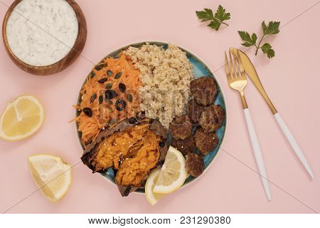 Healthy Food Concept. Clean Eating. Meal With Turkey Meatballs, Bulgur, Sweet Potato, Carrot, Salad.