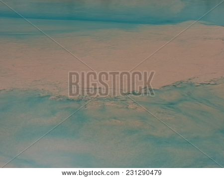 Abstract Gpange Background Of Pink Faded Spots On The Surface With Greenish Watery Splits.