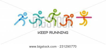 Dynamic Running People Set. Sport And Healthy Lifestyle Illustration For Your Design. Competition An