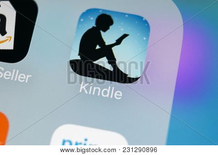 Sankt-petersburg, Russia, March 15, 2018: Amazon Kindle Application Icon On Apple Iphone X Screen Cl
