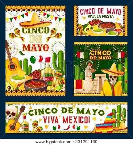 Cinco De Mayo Holiday Poster For Mexican Fiesta Party Design. Festive Food, Pepper, Sombrero And Sku