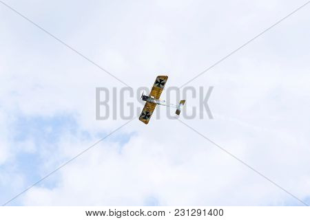 Plasy, Czech Republic - April 30 2017: Fokker E. Iii Eindecker Fighter Aircraft Of World War I. Fly