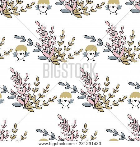 Easter Seamless Pattern With Bunch Of Flowers And Chicks. Handwritten Vector Illustration Isolated O