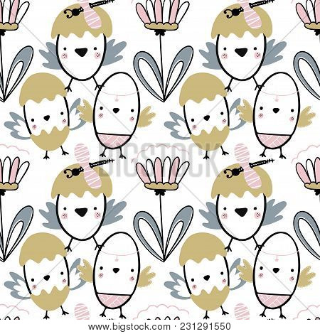 Easter Seamless Pattern With Flowers, Chiks And Dragonflies. Handwritten Vector Illustration Isolate