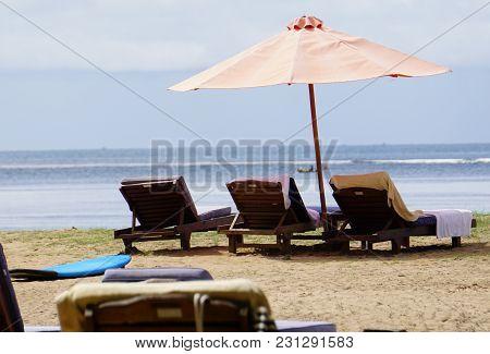 Beach Sun Bed Umbrella Bali Beach