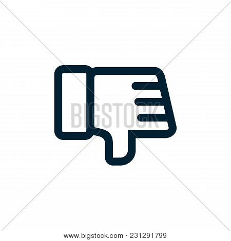 Thumbs Down Icon Dislike Icon Flat Style Black And White Colors Isolated Web Icon