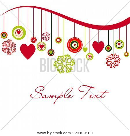 Cute background with hearts and snowflakes