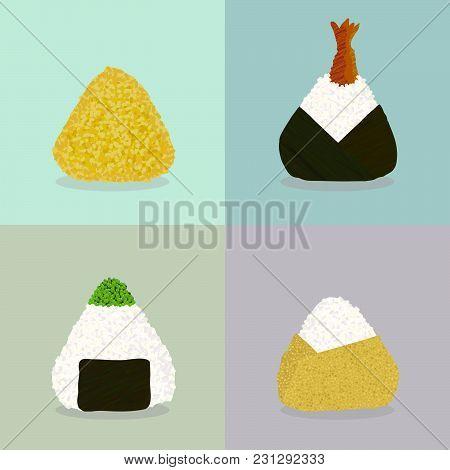 Various Onigiri. Sticky Rice Balls. Japanese Cuisine. Illustration. Lunch. Colored By Turmeric. Shri