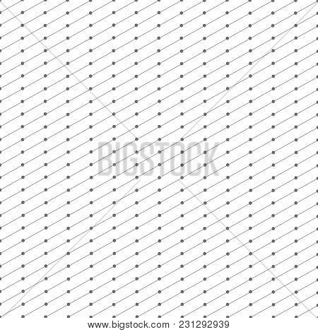 Abstract Geometric Pattern Dots In Lines . Seamless Background Gray And White Texture.