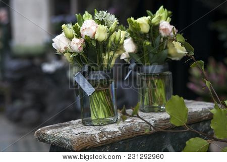 Bouquet Of White And Pink Rose In Vase Of Glass.