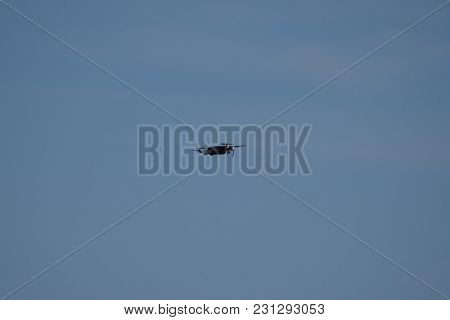 Small Toy Personal Drone Flying Hovering In The Air Under A Clear Blue Sky