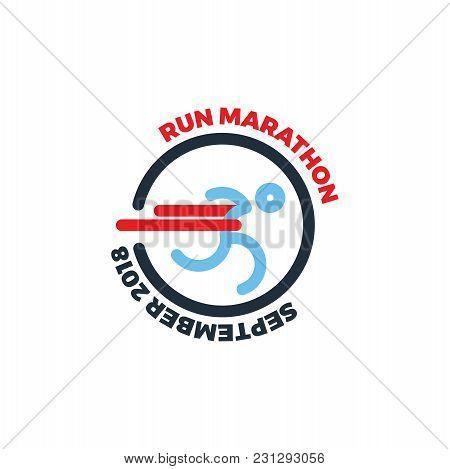 Logo For Running Marathon. Silhouette Runner At Finish Line. Flat Symbol Vector Illustration