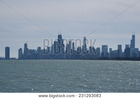 Chicago Skyline As Seen From Montrose Harbor, Along Lake Michigan, High Rises, Skyscrapers, Building