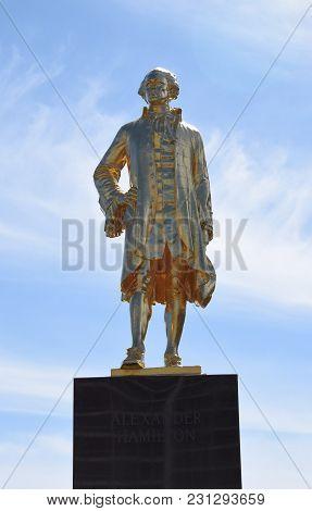 Alexander Hamilton Statue, Gold Finish, Lincoln Park, Chicago, Il, March 11th, 2018