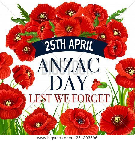 Anzac Day Greeting Card For Lest We Forget War Commemorative Day Of Australia And New Zealand Soldie