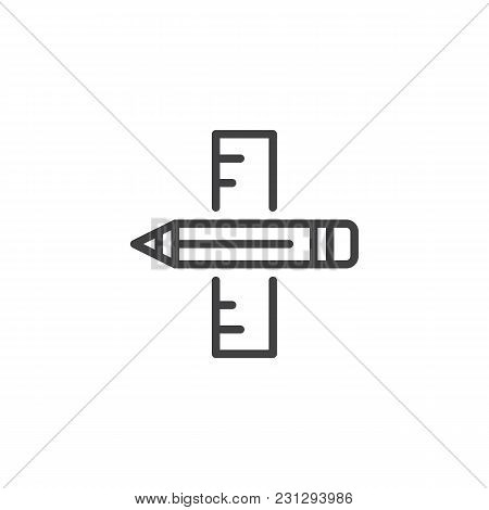 Ruler And Pencil Outline Icon. Linear Style Sign For Mobile Concept And Web Design. Creative Design