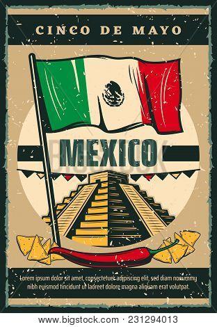 Cinco De Mayo Mexican Holiday Sketch Poster Retro Design Of Mexico Flag, Jalapeno Pepper And Nachos