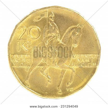 Close-up Of Czech Twenty Crown Coin With St Wenceslas Figure On Horse