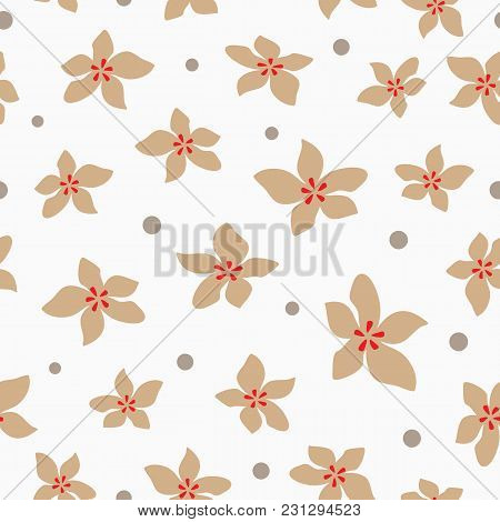 Repeating Abstract Flowers And Round Dot. Simple Floral Seamless Pattern. Feminine Print. Drawn By H