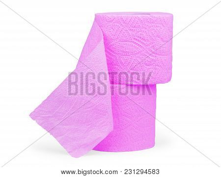 The Roll Of Pink Toilet Paper Isolated On White Background